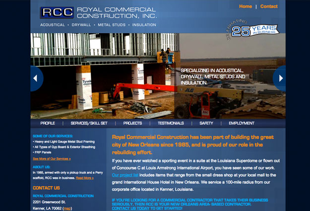 Royal Commercial Construction Website