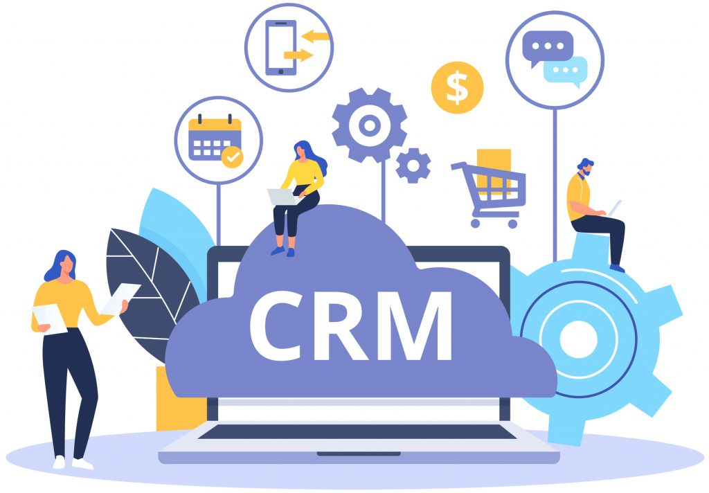 Abstract image of CRM software functions